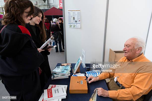 Brussels Belgium March 1 2015 Joseph Joffo at the Brussels book fair at Tour Taxis