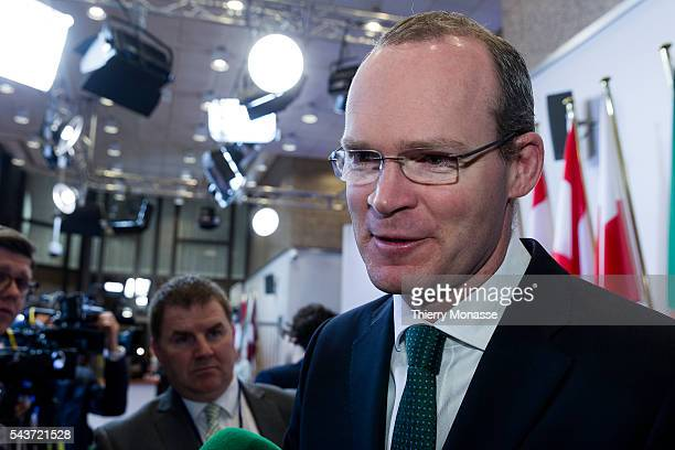 Brussels Belgium March 16 2015 Irish Minister for Agriculture Food the Marine Simon COVENEY is talking to media prior an EU agriculture Ministers...