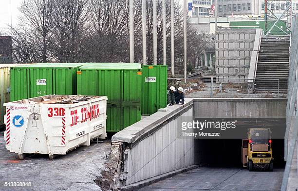 Brussels Belgium March 1997 Workers rebuild the Berlaymont headquarter of the European Commission after the removal of Asbestos