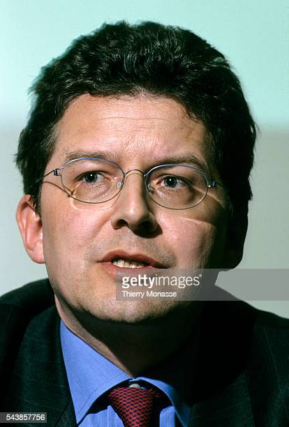 Brussels Belgium March 20 2000 Olivier LEFEBVRE during a press conference when he cames back from London where he anounce whith and Paris Bourse SA...