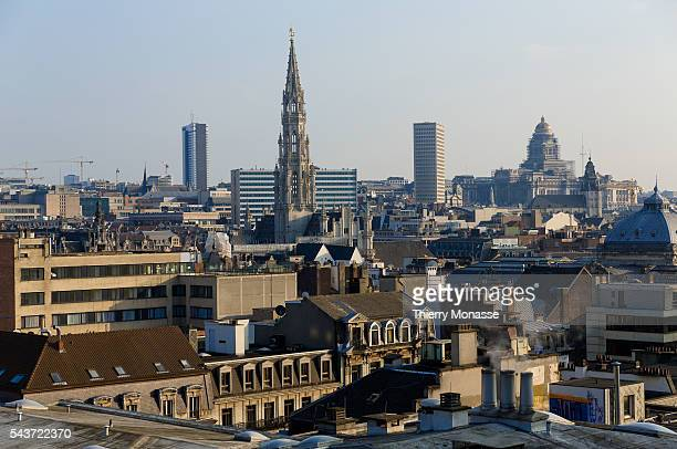 Brussels, Belgium, March 23, 2014. -- The Brussels Town Hall and the Palace of Justice designed by Joseph Poelaert are seen from the Parking 58.