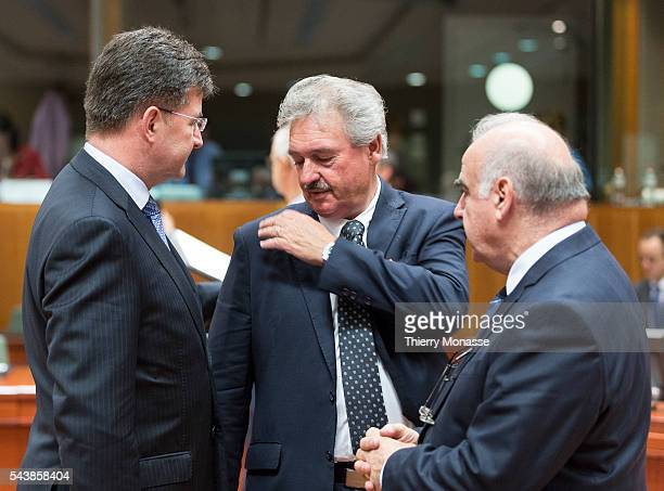 Brussels Belgium May 12 2014 Slovak Minister of Foreign European Affairs Miroslav LAJCAK is talking wit hthe Luxembourg Minister for foreign affairs...