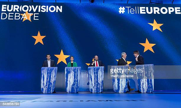 Brussels Belgium May 15 2014 Left to right European United Left candidate Alexis TSIPRAS is talking with theGreen candidate Ska KELLER the...