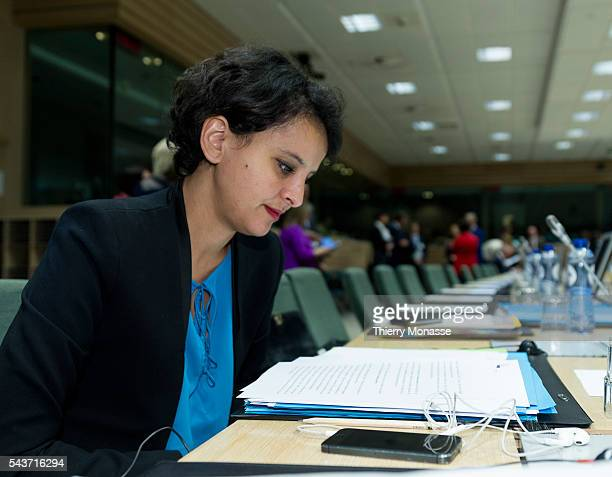Brussels Belgium May 18 2015 French Minister of f National Education Higher Education Research Najat VallaudBelkacem is waiting for the start of an...