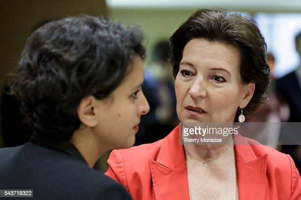 Brussels Belgium May 18 2015 French Minister of f National Education Higher Education Research Najat VallaudBelkacem is talking with the Austrian...
