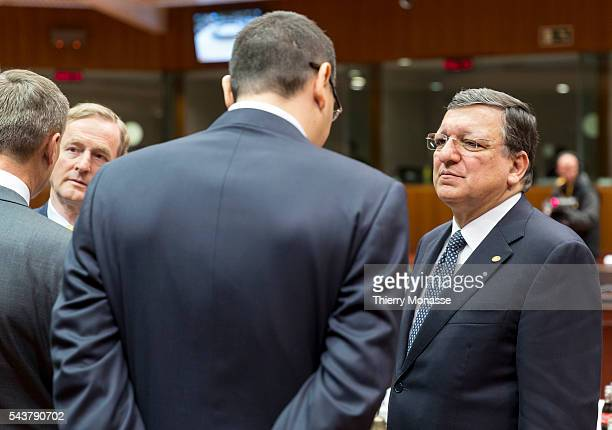 Brussels Belgium May 22 2013 Irish Prime Minister Enda KENNY is talking with the Romanian Prime Minister Victor Viorel PONTA and the President of the...