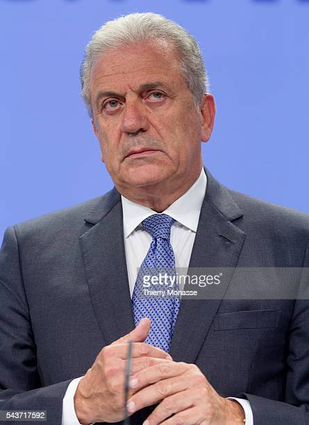 Brussels Belgium May 26 2015 EU Commissioner for Migration and Home Affairs Dimitris Avramopoulos gives a press conference at the EU Commission...