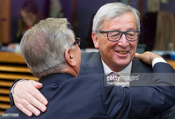 Brussels Belgium May 27 2015 EU Environment Maritime Affairs and Fisheries Commissioner Karmenu Vella is talking with the President of the European...