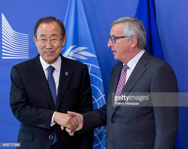 Brussels Belgium May 27 2015 President of the European Commission JeanClaude Juncker welcomes the General secretary of the UN Ban Kimoon prior to a...