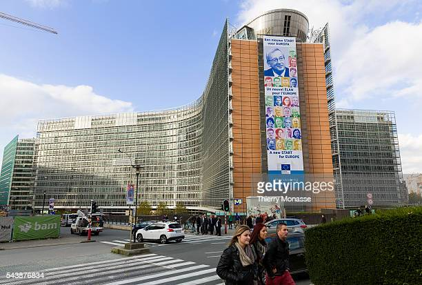 Brussels Belgium November 10 2014 The Berlaymont central building of the EU Commission with the portrait of the 28 new Commissioner is display on the...