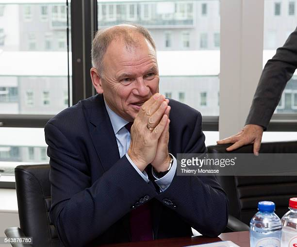 Brussels Belgium November 112014 EU Health Food Safety Commissioner Vytenis Andriukaitis in his office in Brusells