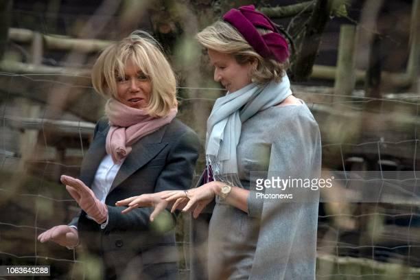 Brussels Belgium Visite de Brigitte Macron avec la Reine à La Maisonnée Bezoek van Brigitte Macron met de Koningin aan La Maisonnée © Philip Reynaers...