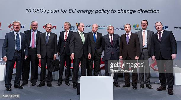 Brussels Belgium October 12 2013 CEOs of ten major Energy companies presser Left to right Chief Executive Officer and General Director of Enel Fulvio...