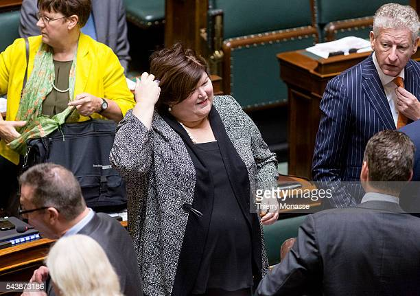 Brussels Belgium October 14 2014 Belgium Minister Minister of Social Affairs and Health Maggie DE BLOCK is looking at colleagues prior a plenary...