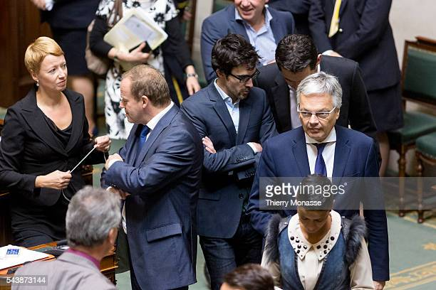Brussels, Belgium, October 14, 2014. -- Belgium Minister of Foreign Affairs Didier REYNDERS arrives for a plenary session of the chamber at the...
