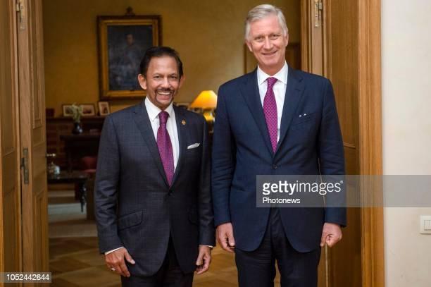Brussels Belgium Audience du Roi avec le Sultan du Brunei Haji Hassanal Bolkiah Mu'izzaddin Waddaulah Audiëntie van de Koning met Sultan van Brunei...