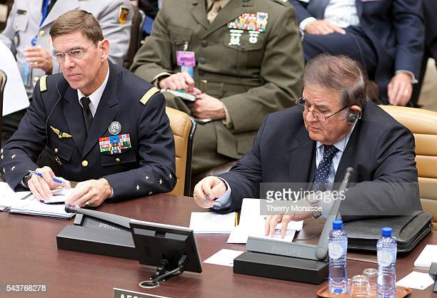 Brussels Belgium October 6 2011 Supreme Allied Commander Transformation French Air Force General Stephane Abrial and Afghan Minister of defence...