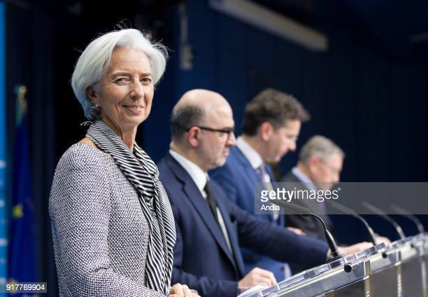 Christine Lagarde Managing Director of the IMF attending a meeting of the Eurogroup
