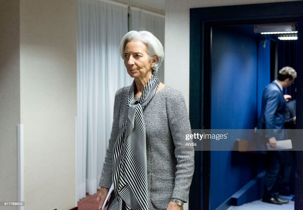 Christine Lagarde, Managing Director of the IMF, attending a meeting of the Eurogroup.