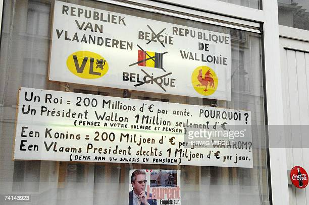 Picture taken 14 May 2007 of two billboards pasted on a shopwindow by a local resident of Ninovse Steenweg SintJansMolenbeek / Chaussee de Ninove...