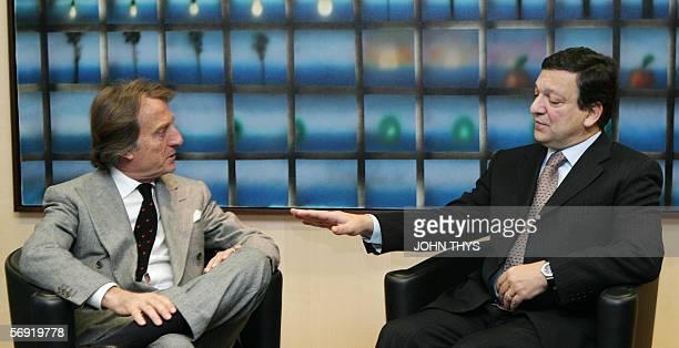 Portuguese Jose Manuel Durao Barroso , Chairman of the European Commission, welcomes Luca Cordero di Montezemolo , Chairman of Confindustria, for a...