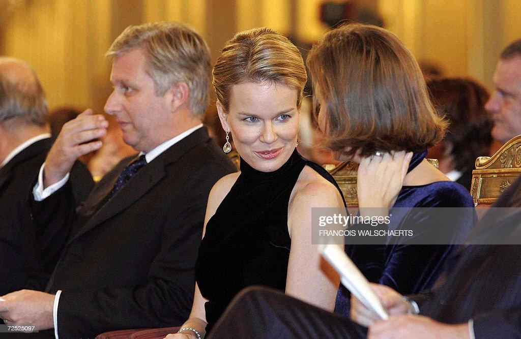 (L-R) Prince Philippe, Princess Mathilde : News Photo
