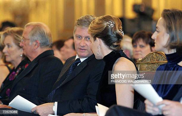 Queen Paola and King Albert II, Prince Philippe, Princess Mathilde and Princess Claire of Belgium attend a concert celebrating the 175th anniversary...