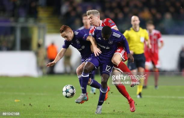 20171122 Brussels Belgium / Rsc Anderlecht v Bayern Munchen / 'nAdrien TREBEL Dennis APPIAH Robert LEWANDOWSKI 'nFootball Uefa Champions League 2017...