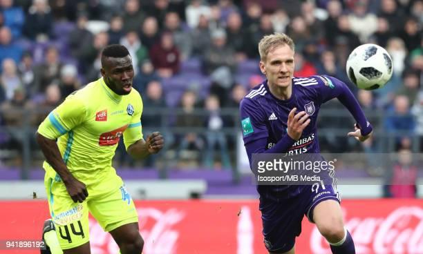 20180401 Brussels Belgium / Rsc Anderlecht v Kaa Gent / 'nAnderson ESITI Lukasz TEODORCZYK'nFootball Jupiler Pro League 2017 2018 PlayOff 1 Matchday...