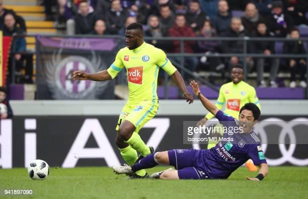 20180401 Brussels Belgium / Rsc Anderlecht v Kaa Gent / 'nAnderson ESITI Ryota MORIOKA'nFootball Jupiler Pro League 2017 2018 PlayOff 1 Matchday 1 /...