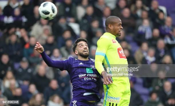 20180401 Brussels Belgium / Rsc Anderlecht v Kaa Gent / 'nJosue SA Rangelo JANGA'nFootball Jupiler Pro League 2017 2018 PlayOff 1 Matchday 1 /...
