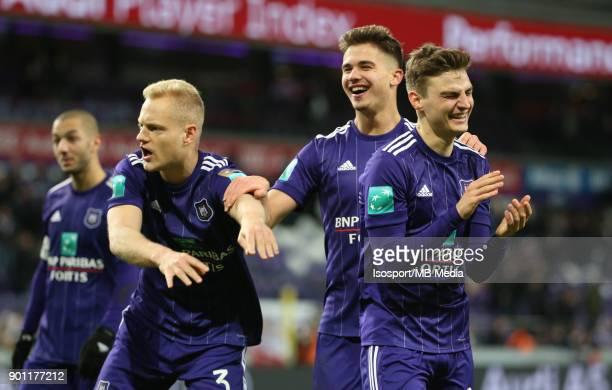 20171226 Brussels Belgium / Rsc Anderlecht v Kaa Gent / 'nOlivier DESCHACHT Leander DENDONCKER Pieter GERKENS Celebration'nFootball Jupiler Pro...