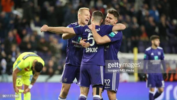20171226 Brussels Belgium / Rsc Anderlecht v Kaa Gent / 'nOlivier DESCHACHT Uros SPAJIC Leander DENDONCKER Celebration'nFootball Jupiler Pro League...