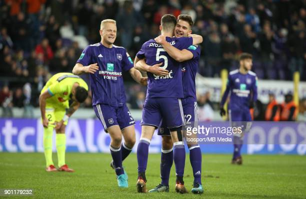20171226 Brussels Belgium / Rsc Anderlecht v Kaa Gent / 'nUros SPAJIC Leander DENDONCKER Celebration'nFootball Jupiler Pro League 2017 2018 Matchday...