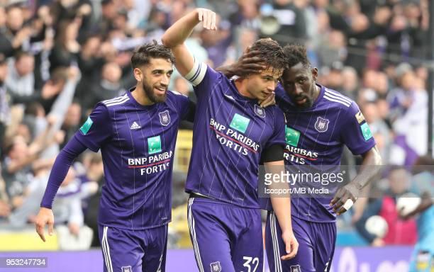20180429 Brussels Belgium / Rsc Anderlecht v Sporting Charleroi / 'nJosue SA Leander DENDONCKER Silvere GANVOULA Celebration'nFootball Jupiler Pro...