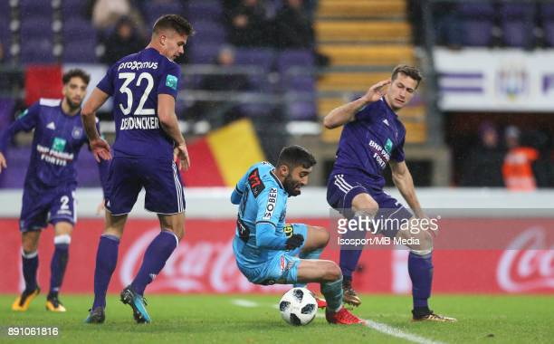20171210 Brussels Belgium / Rsc Anderlecht v Sporting Charleroi / 'nLeander DENDONCKER Kaveh REAZAEI Uros SPAJIC'nFootball Jupiler Pro League 2017...