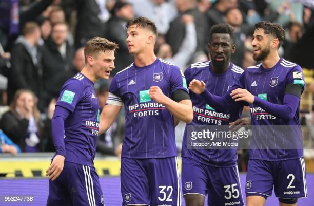 20180429 Brussels Belgium / Rsc Anderlecht v Sporting Charleroi / 'nPieter GERKENS Leander DENDONCKER Silvere GANVOULA Josue SA Celebration'nFootball...