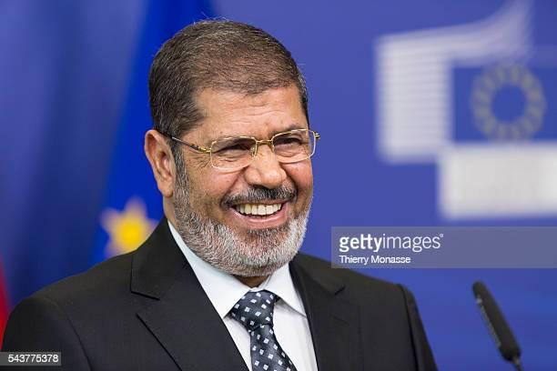 Brussels Belgium September   Egyptian President Muhammad Mursi And The President Of The European Commission