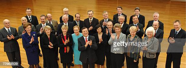The 27 European Commissioners pose for the Family Photo in EU Headquarters in Brussels 10 January 2007 From Left to Right 1r Neelie Kroes Danuta...