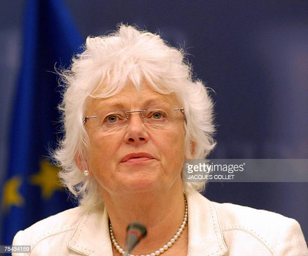 The European Commissioner for Agriculture and Rural Development Mariann Fischer Boel speaks during a joint press conference with the Chairman of the...
