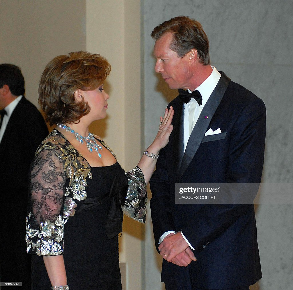 The Grand Duke de Henri of Luxembourg, and the Grande Duchess of Luxembourg, Maria Teresa stand 21 March 2007 prior the start of a visit of the Fine Arts Museum in Brussels, during the second day of a three day State visit of the Luxembourg royalty to Belgium.