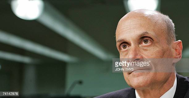 The US Secretary of Homeland Security Michael Chertoff looks on during a joint press conference with EU Justice commissioner Franco Frattini 14 May...