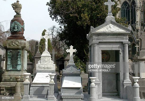 THIS picture taken 06 April 2006 in Brussels shows renovated graves in a cemetary of Laeken / Laken, which are ready to be sold. Brussels City has...