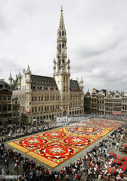 View of the flower carpet on Brussels's Grand Place 12 August 2006 In 2006 the designers of this flower carpet sought inspiration in the alchemy of...