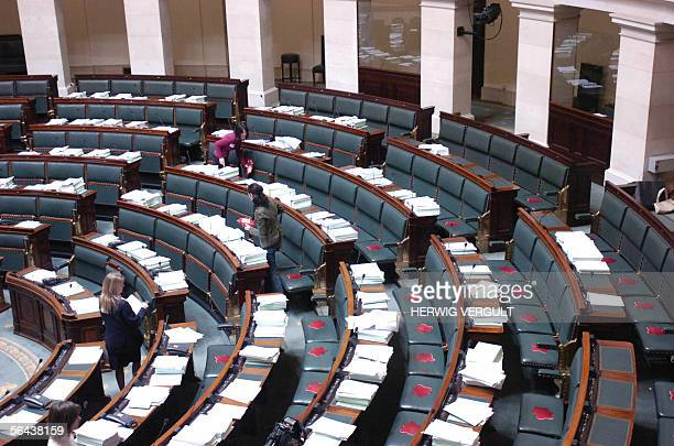 Women place false blood stains on the seats of Belgian parliament chamber for a shocking action by spa parliament member Maya Detiege to ask the...