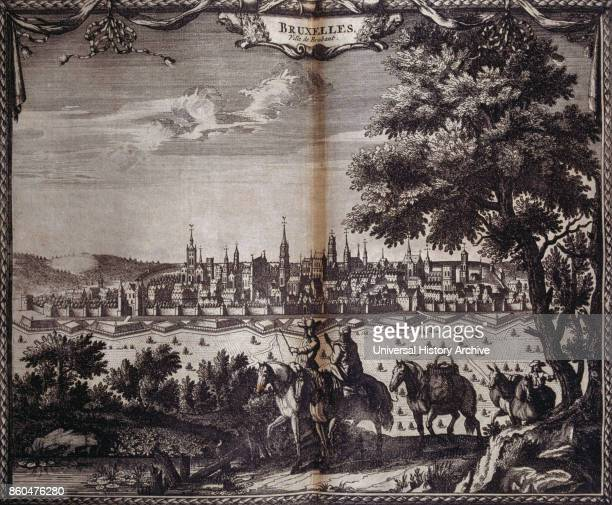 Brussels Brabant Old Town in 1727 within Fort Monterey Belgium From voyages made to Persia and India 1727 by Johan Albrecht de Mandelslo...