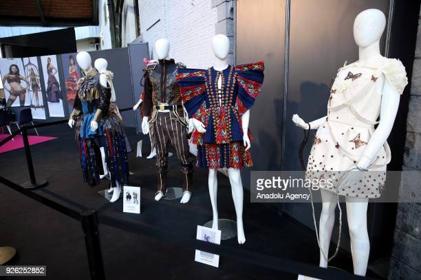 Brussels Chocolate Fair, a yearly trade fair also known as 'Salon Du Chocolat', held in Brussels, Belgium on March 02, 2018. Figures made of...