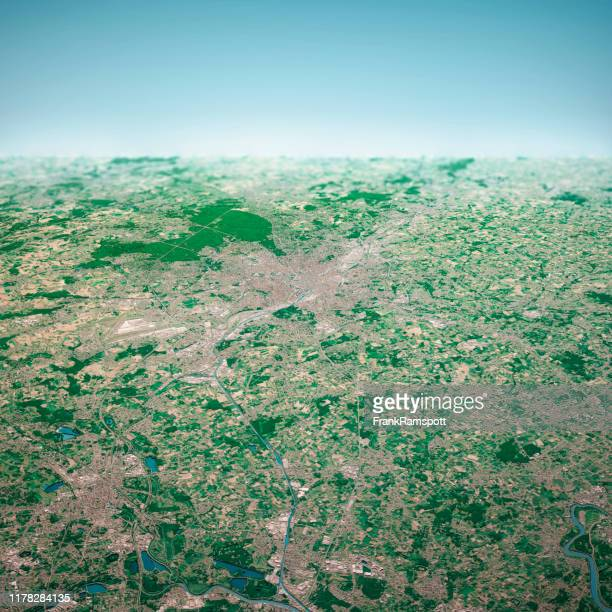 brussels city 3d render aerial horizon view from north aug 2019 - frankramspott stock pictures, royalty-free photos & images