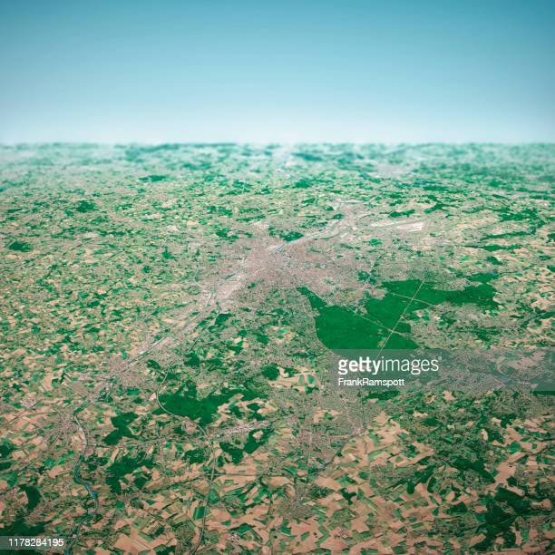brussels city 3d render aerial horizon view from south aug 2019 - frankramspott stock pictures, royalty-free photos & images