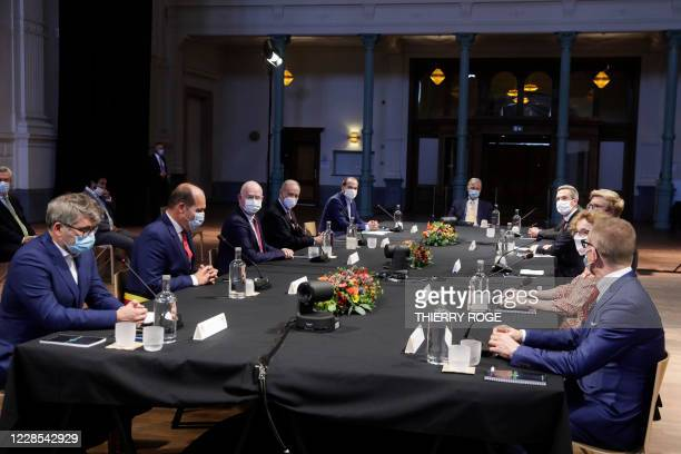 Brussels City mayor Philippe Close, BNP Paribas Fortis CEO Max Jadot and King Philippe - Filip of Belgium pictured during a visit of Belgian King to...